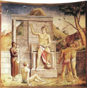 Carlo Carrà, L'imperatore Giustiniano dà nuove leggi e libera uno schiavo